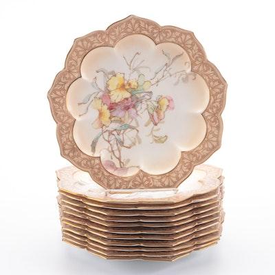 Royal Doulton Gilt Accented Floral Motif Bone China Dessert Plates
