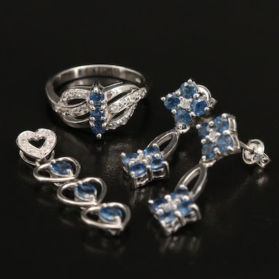 Sterling Silver Sapphire and Zircon Ring, Earrings and Slide Pendant