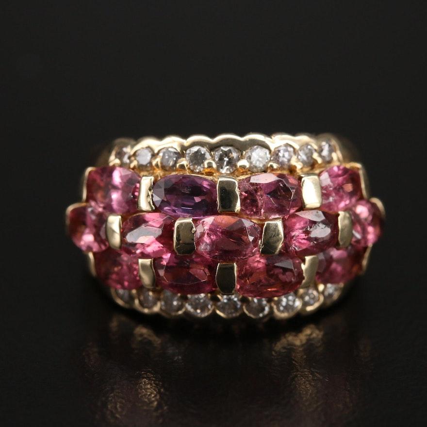 14K Tourmaline and Diamond Multi-Row Ring