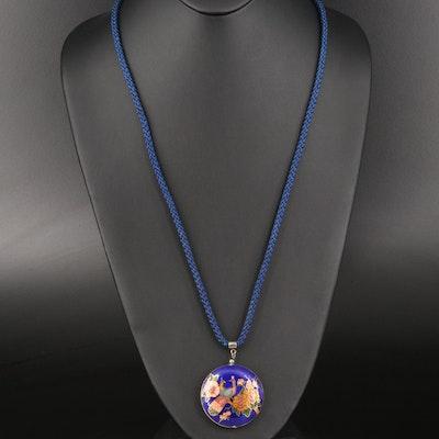 Enamel Peacock Pendant Necklace
