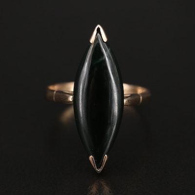 Vintage 14K Nephrite Navette Ring