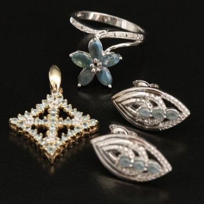 Sterling Silver Alexandrite and Topaz Earrings, Ring and Pendant