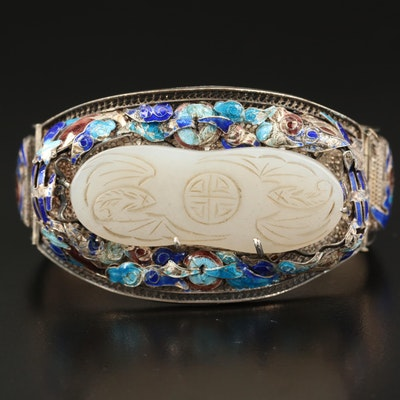 Chinese Sterling Serpentine and Cloisonné Bracelet with Auspicious Bats