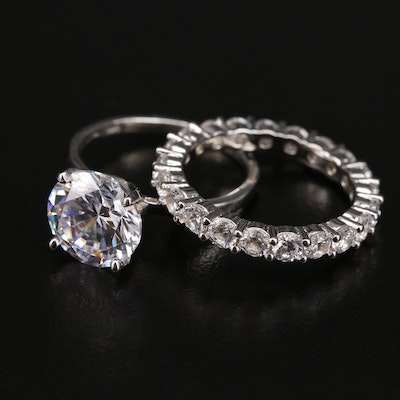 Sterling Silver Cubic Zirconia Ring and Eternity Band