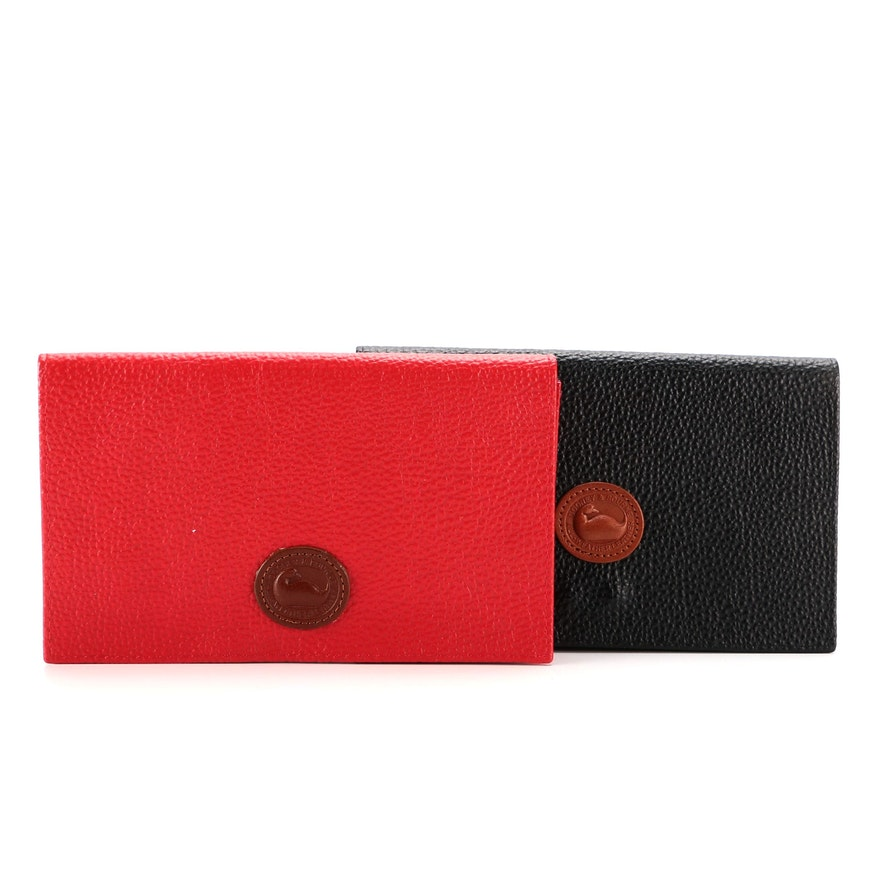 Dooney & Bourke Set of Foldover Clutches in Red and Black Pebbled Leather