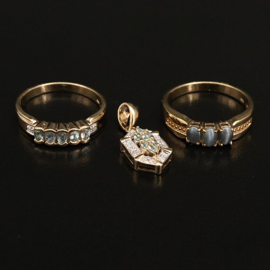 Sterling Silver Alexandrite and Zircon Rings with Pendant