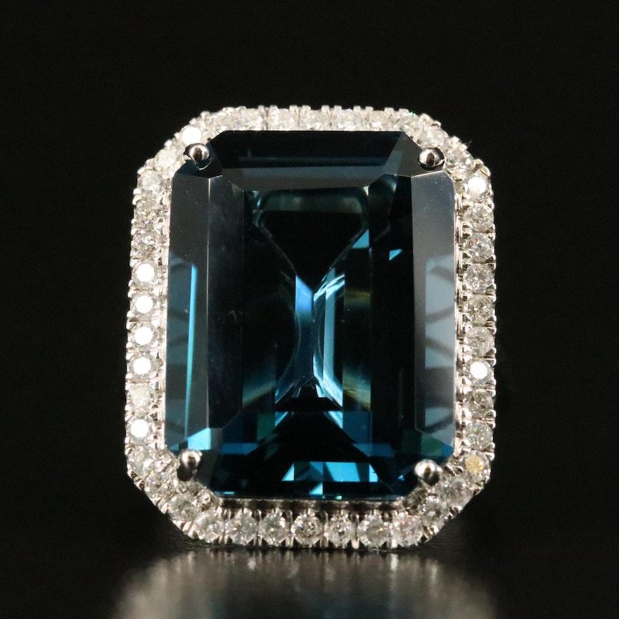 14K 25.52 CT London Blue Topaz and Diamond Halo Ring