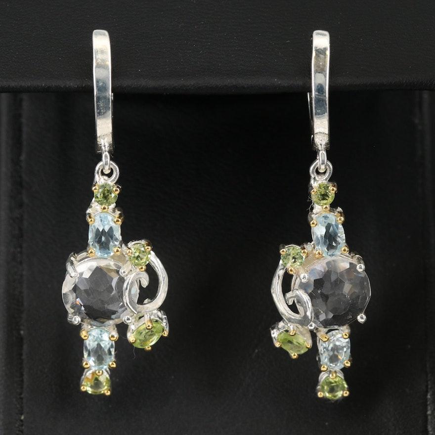 Sterling Rock Cyrstal Quartz, Topaz and Peridot Drop Earrings
