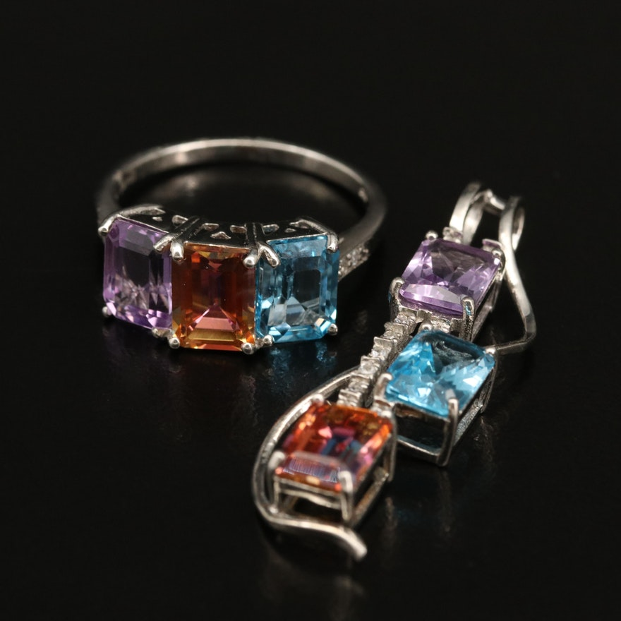 Sterling Amethyst and Zircon Pendant with Ring Including Swiss Blue Topaz