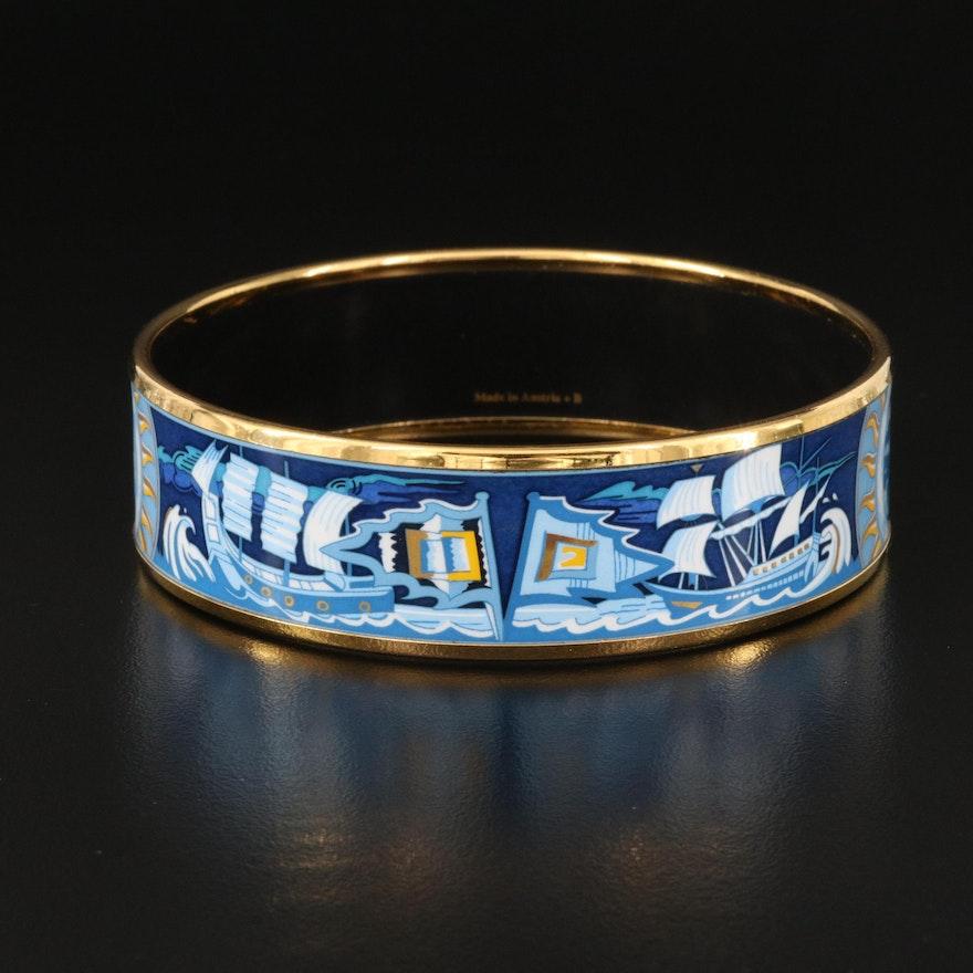 Hermès Enamel Sailboat Bangle Bracelet