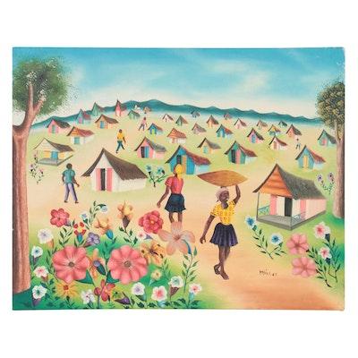 Caribbean Folk Art Landscape Oil Painting, Late 20th Century