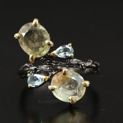Sterling Tourmaline and Topaz Biomorphic Foliate Ring