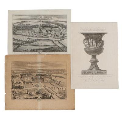 Jan Kip Engravings After Leonard Knyff and Cavaliere Piranesi Etching