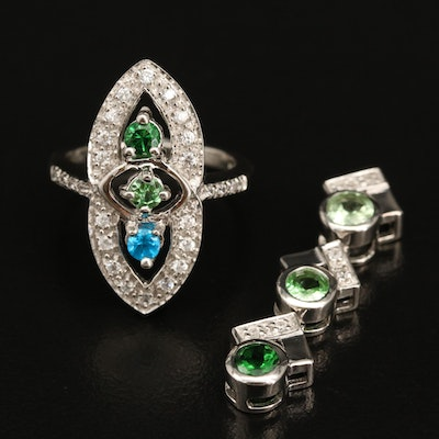 Sterling Silver Zircon, Apatite, and Diopside Pendant and Ring