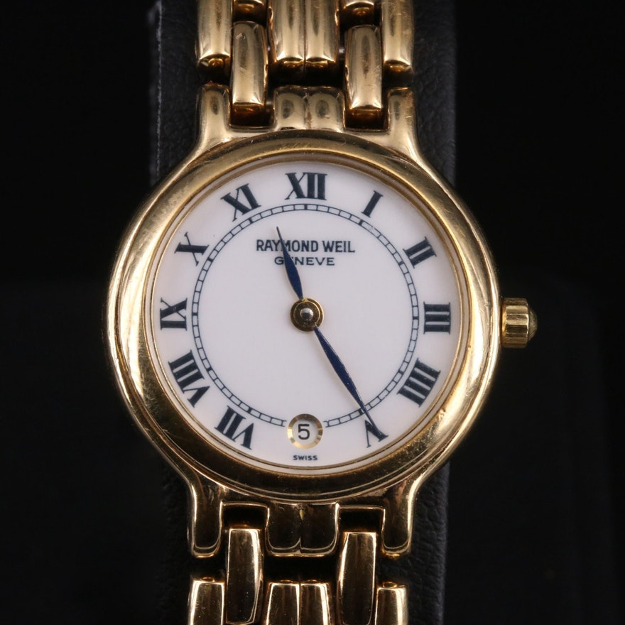Swiss Raymond Weil Geneve with Date Gold Plated Wristwatch