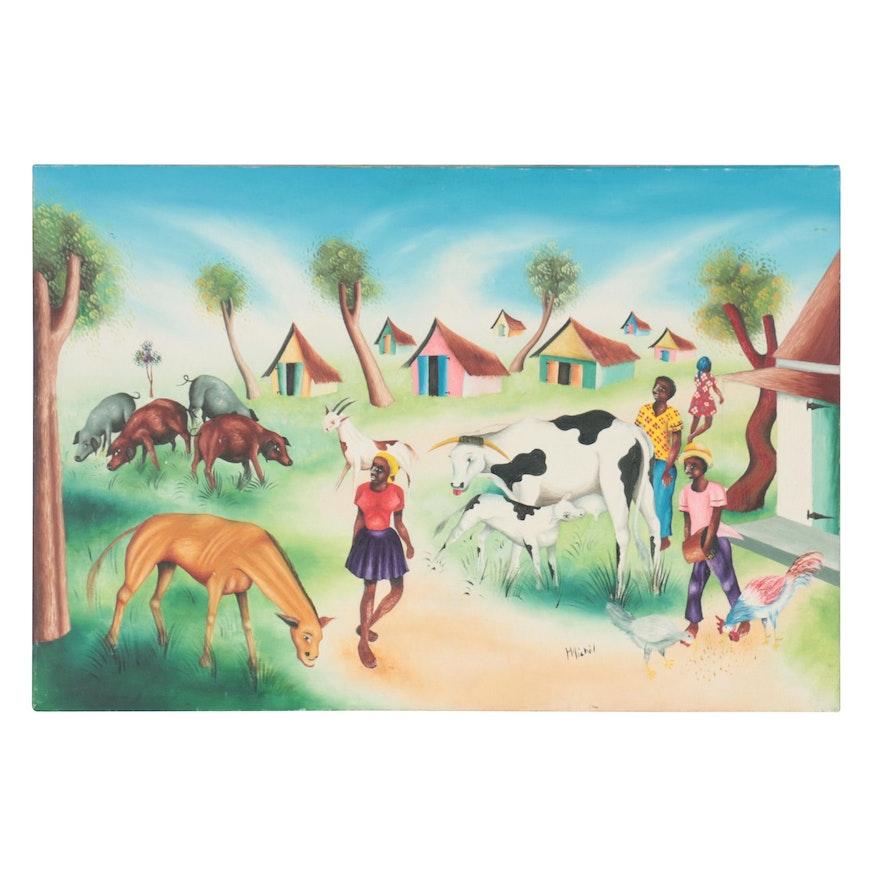 Caribbean Style Folk Art Oil Painting of Farmyard Scene, Late 20th Century