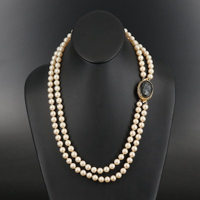 Vintage Faux Pearl Necklace with Convertible Cameo Clasp
