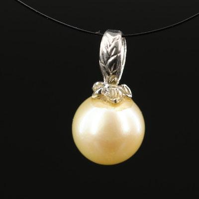 14K Pearl Foliate Pendant