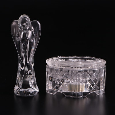 """Waterford Crystal """"Joy to the World"""" Music Box and Angel Figurine"""