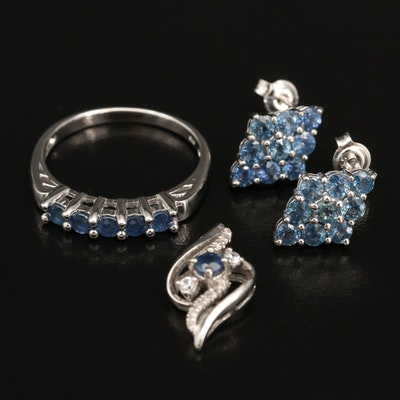 Sterling Silver Sapphire and Zircon Pendant, with Sapphire Earrings and Ring