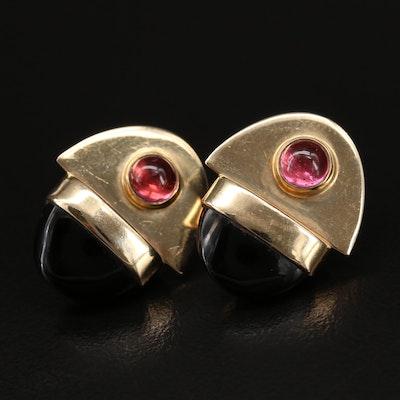 14K Onyx and Garnet Earrings