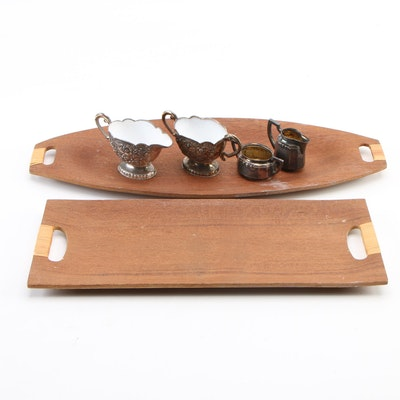 Mid Century Modern Bubinga Wood Trays with Silver Plate Cream and Sugar Sets