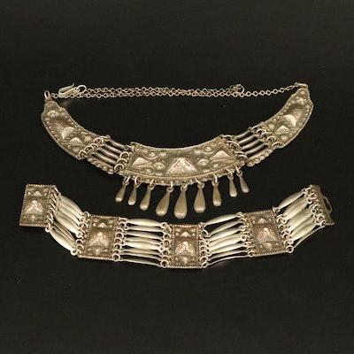 1940s Mexican Repoussé Necklace and Bracelet Set