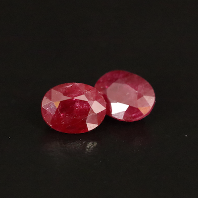 Loose 3.49 CTW Oval Faceted Rubies