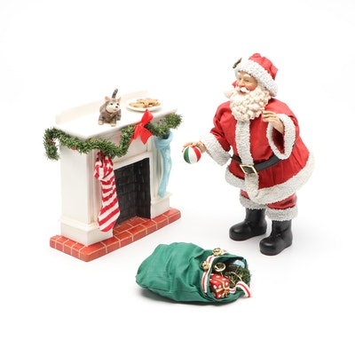 Ceramic Santa Figurine with Fireplace and Presents