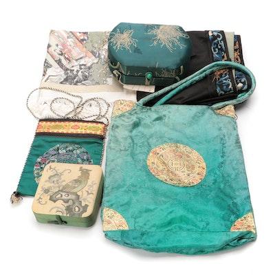 Chinese Chinoiserie Brocade Handbags, Decorative Box and Textiles