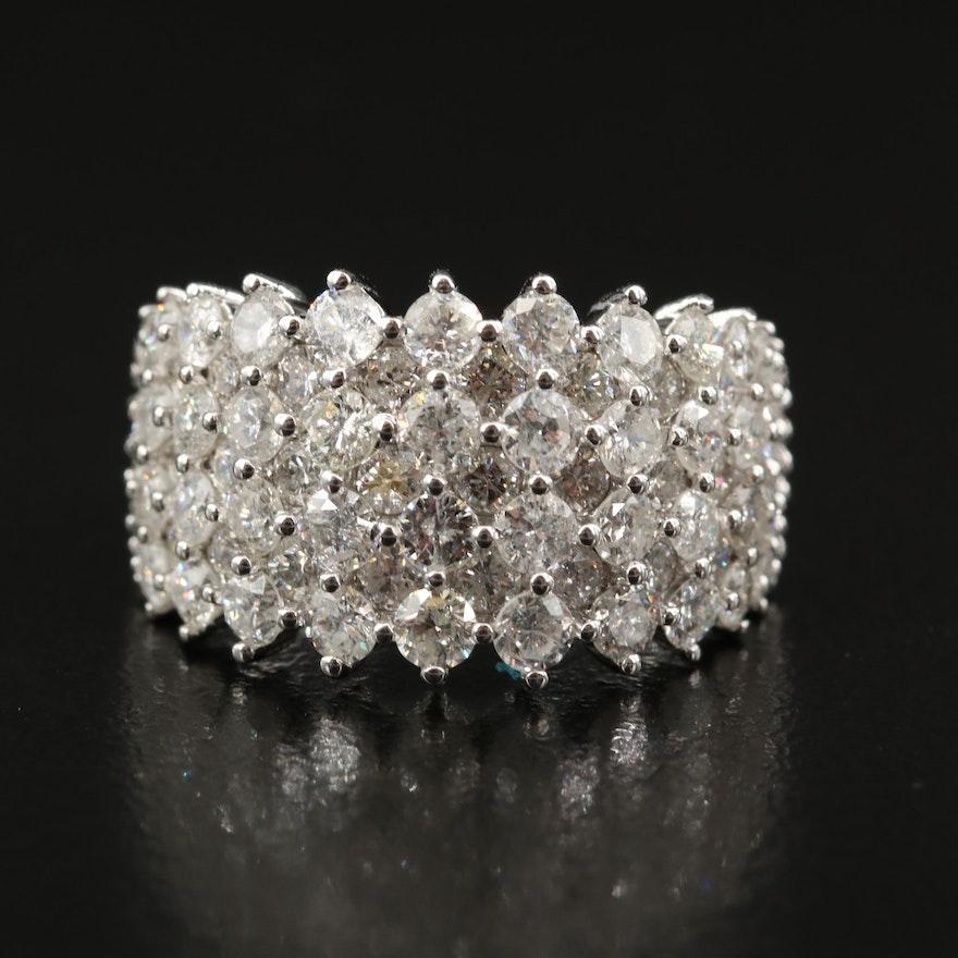 14K 3.38 CTW Pavé Diamond Multi-Row Tapered Ring