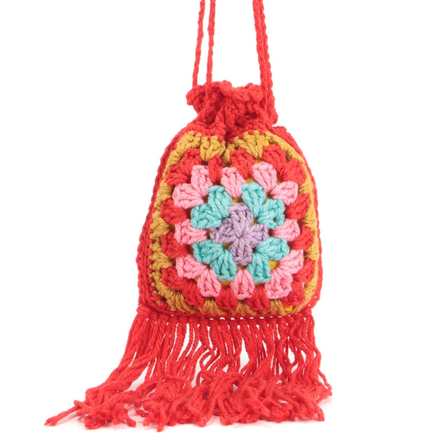 Handmade Red and Multicolor Crochet Drawstring Bag with Fringe