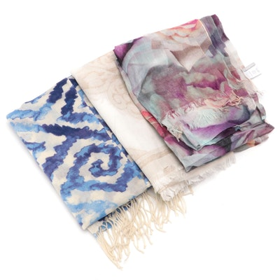 Hinge Tonal Jacquard Linen Blend Scarf with Nordstrom Scarf Wraps