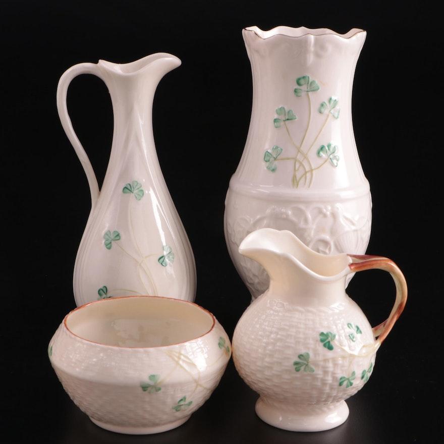 "Belleek ""Shamrock"" Glendalough Vase with Ewer, Mini Creamer and Sugar"