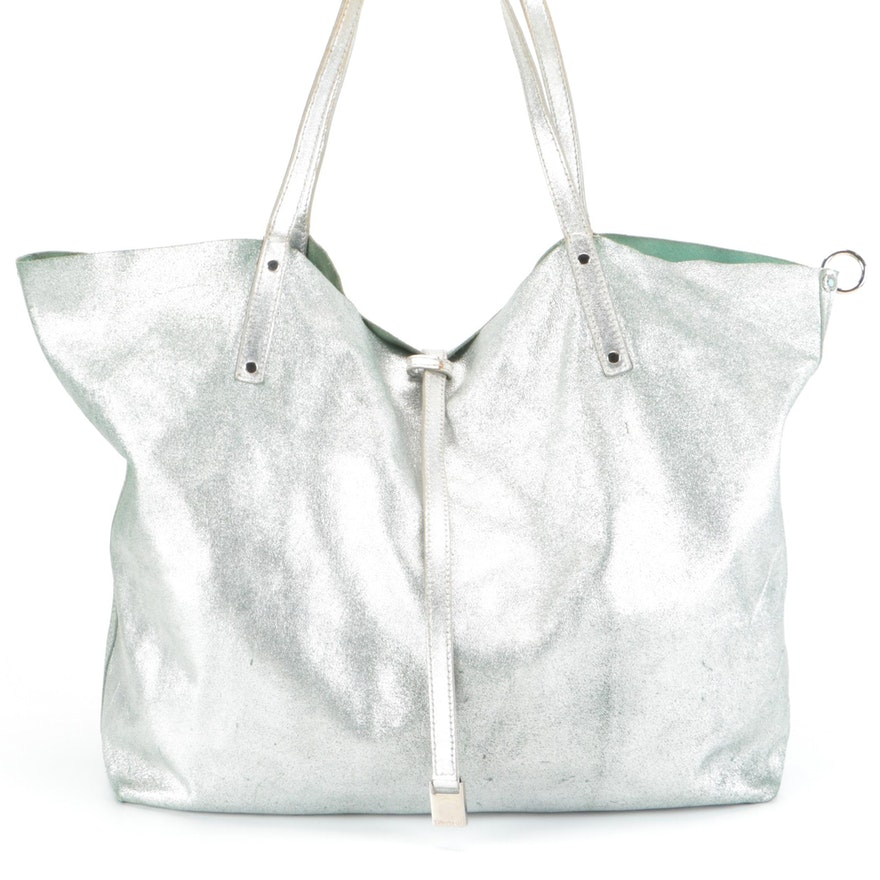 Tiffany & Co. Reversible Tote Bag in Metallic Leather and Tiffany Blue® Suede