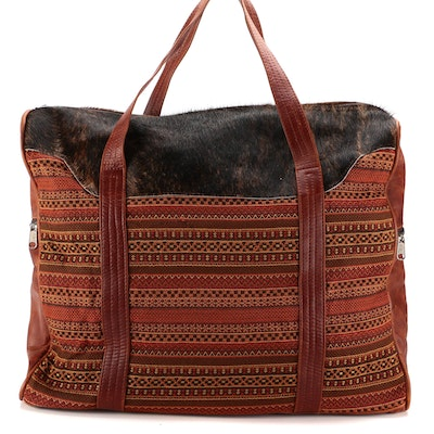 Striped Jacquard and Bonded Leather Weekender Bag with Faux Calf Hair Trim