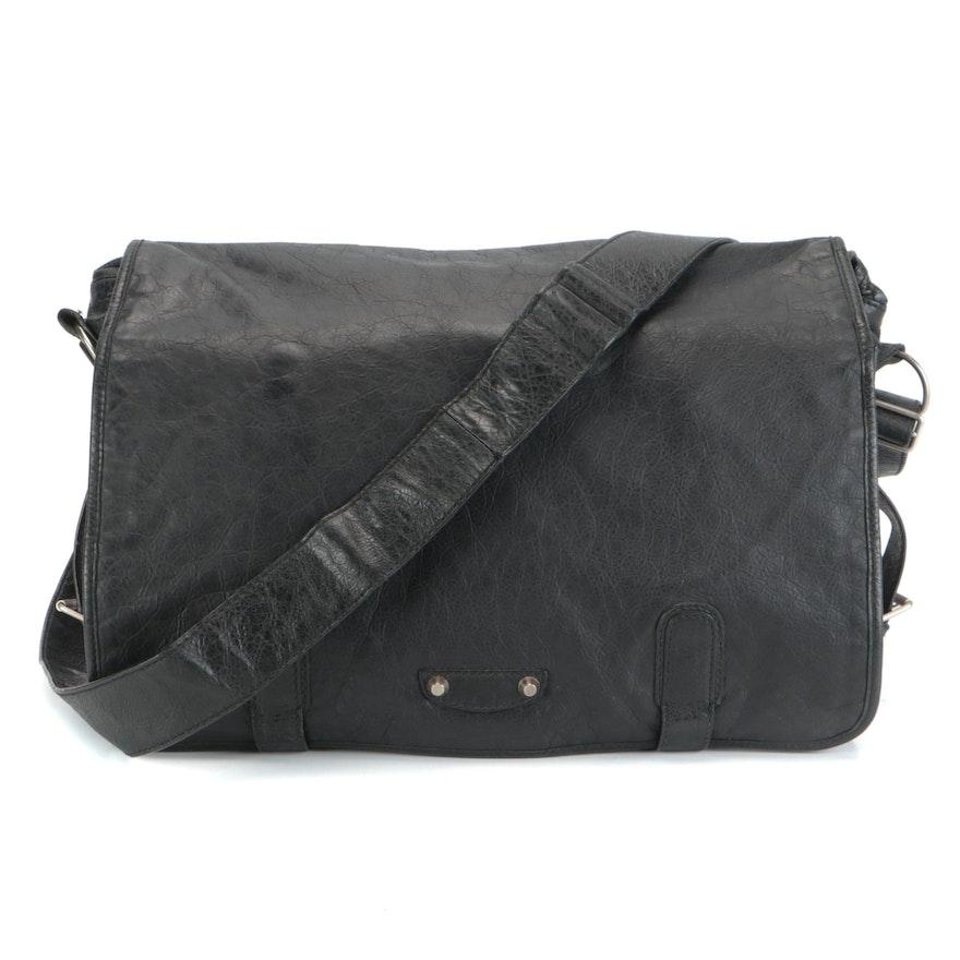 Balenciaga Arena Foldover Classic Studs Black Leather Messenger Bag