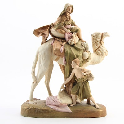 Royal Dux Bohemia Porcelain Figurine of Bedouin Camel Rider with Attendant