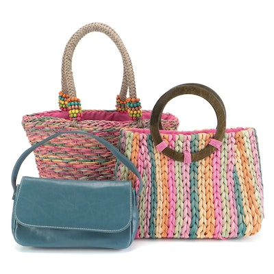 Cappelli and Other Rainbow Straw Bags with Estée Lauder Shoulder Bag