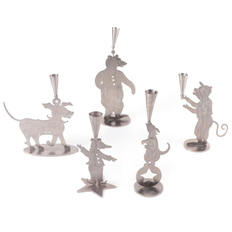 Amy Hess Animal Form Stainless Steel Candle Holders, 1990s