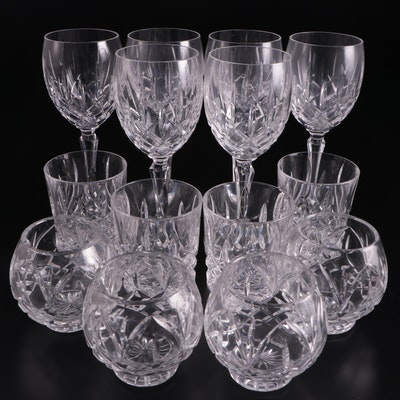 Crystal Wine and Cocktail Glasses with Votives, Late 20th Century