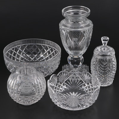 Waterford Crystal Trophy Bowls, Vase, and Jar and Winding Hollow Crystal Trophy