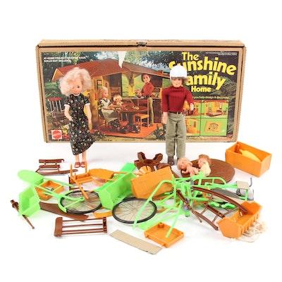 """Mattel """"The Sunshine Family Home"""" Playset and Dolls, Mid 1970s"""