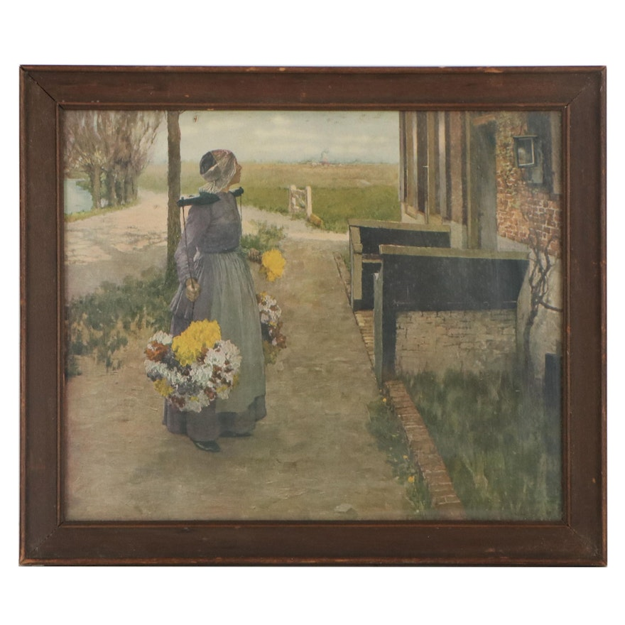 """Offset Lithograph After George Hitchcock """"Flower Girl in Holland"""""""