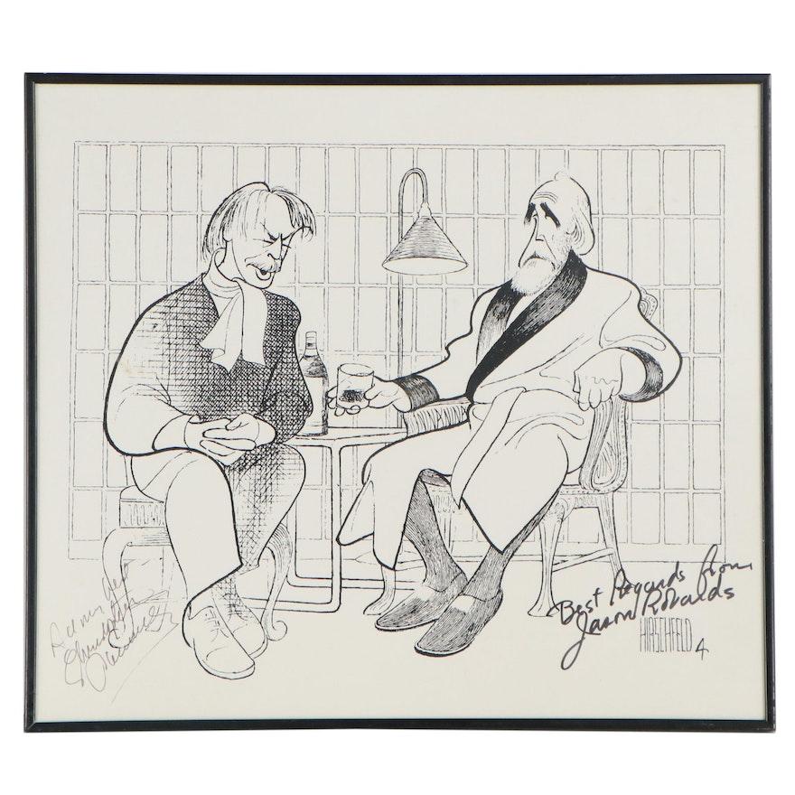 "Autographed Lithograph After Al Hirschfeld ""No Man's Land,"" 1994"
