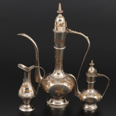 Indian Brass Inlaid Coffee Ewers and Pitcher