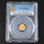 PCGS Graded MS63 1853 Liberty Head Type I Gold $1 Coin