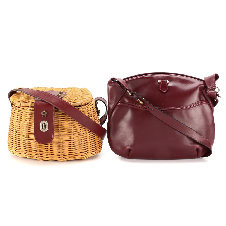 Buchner and Etienne Aigner Bordeaux Leather and Wicker Shoulder Bags
