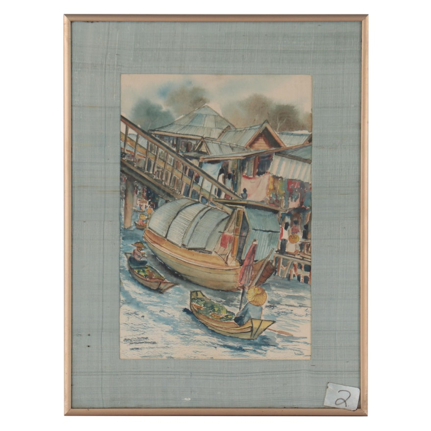 Watercolor Painting of East Asian Canal Scene