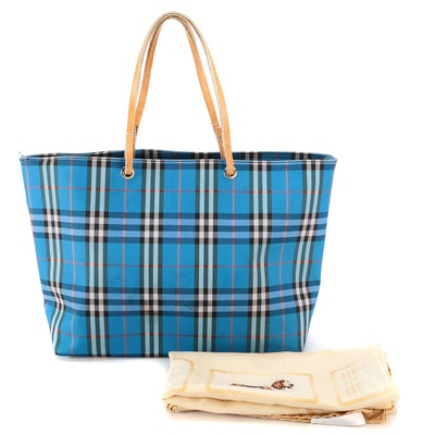 Burberry Blue Check Nylon Tote and Canine Print Silk Scarf